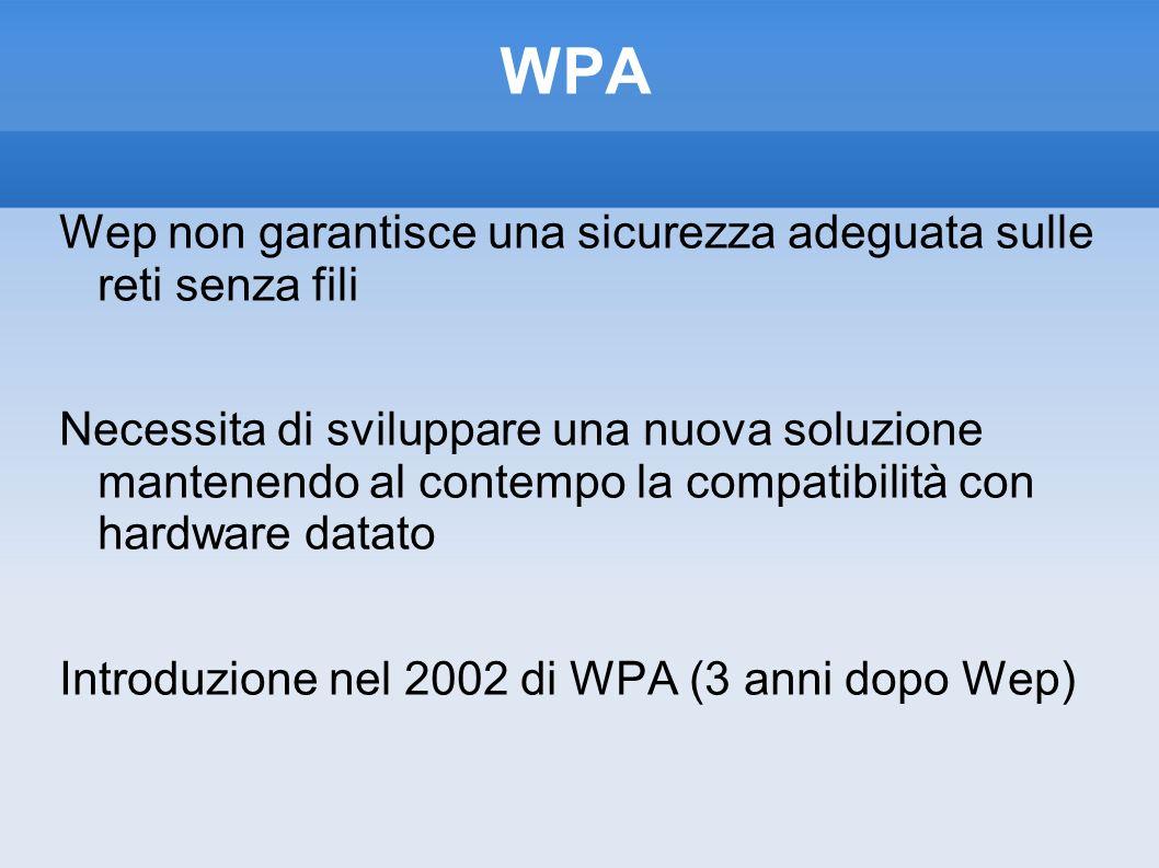 WPA Wep non garantisce una sicurezza adeguata sulle reti senza fili