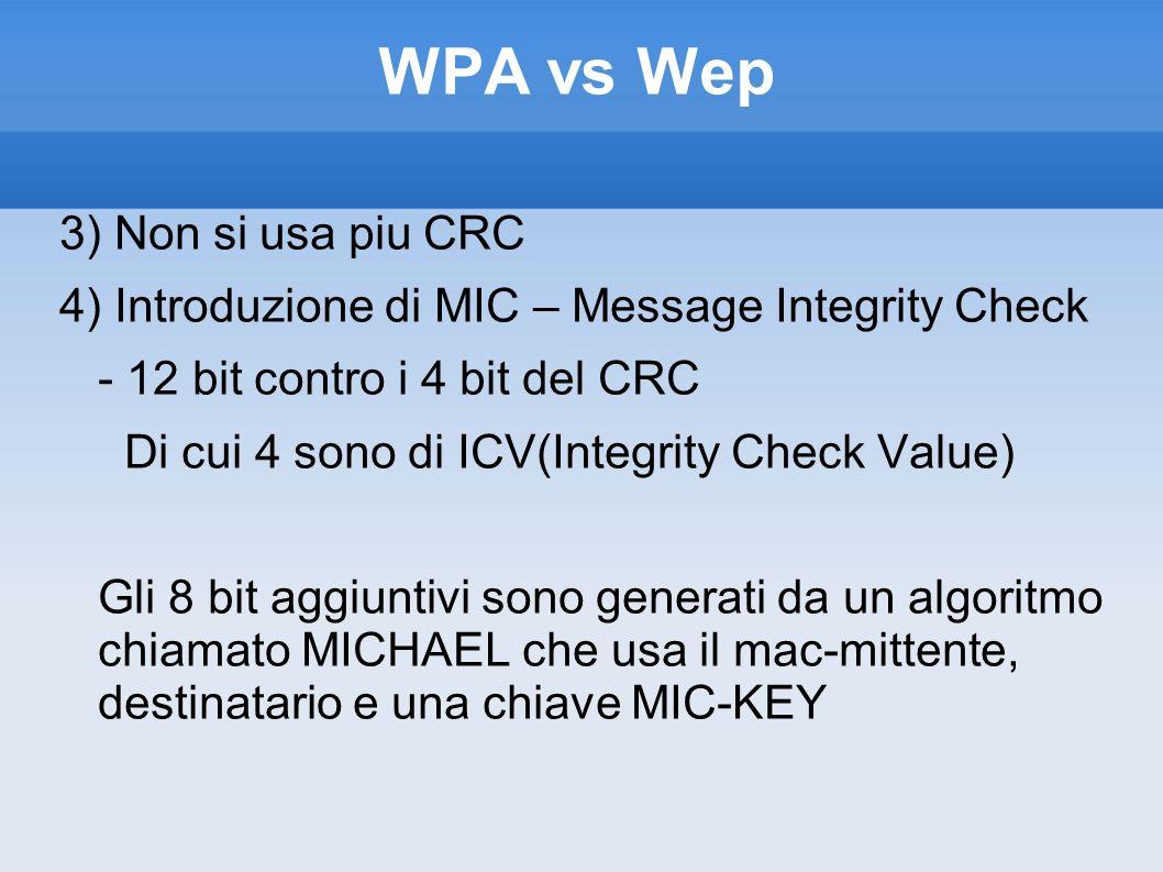 WPA vs Wep 3) Non si usa piu CRC