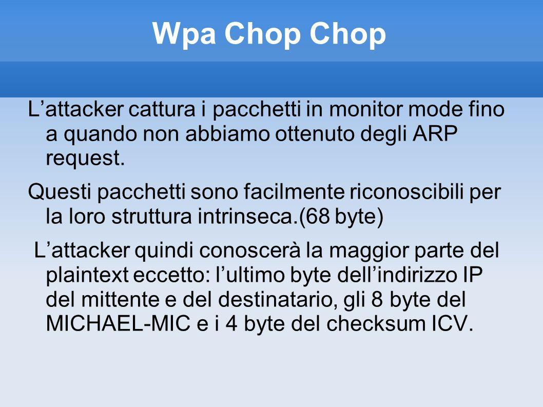 Wpa Chop Chop L'attacker cattura i pacchetti in monitor mode fino a quando non abbiamo ottenuto degli ARP request.