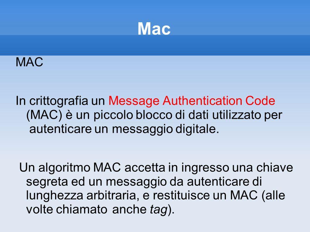 Mac MAC. In crittografia un Message Authentication Code (MAC) è un piccolo blocco di dati utilizzato per autenticare un messaggio digitale.