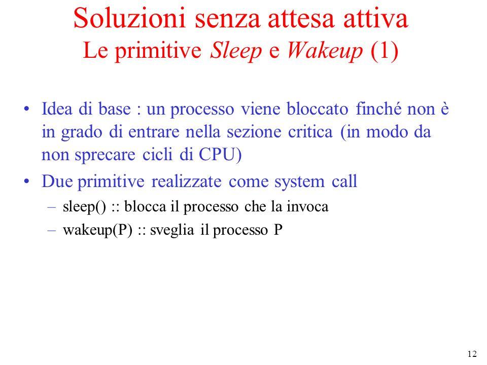 Soluzioni senza attesa attiva Le primitive Sleep e Wakeup (1)