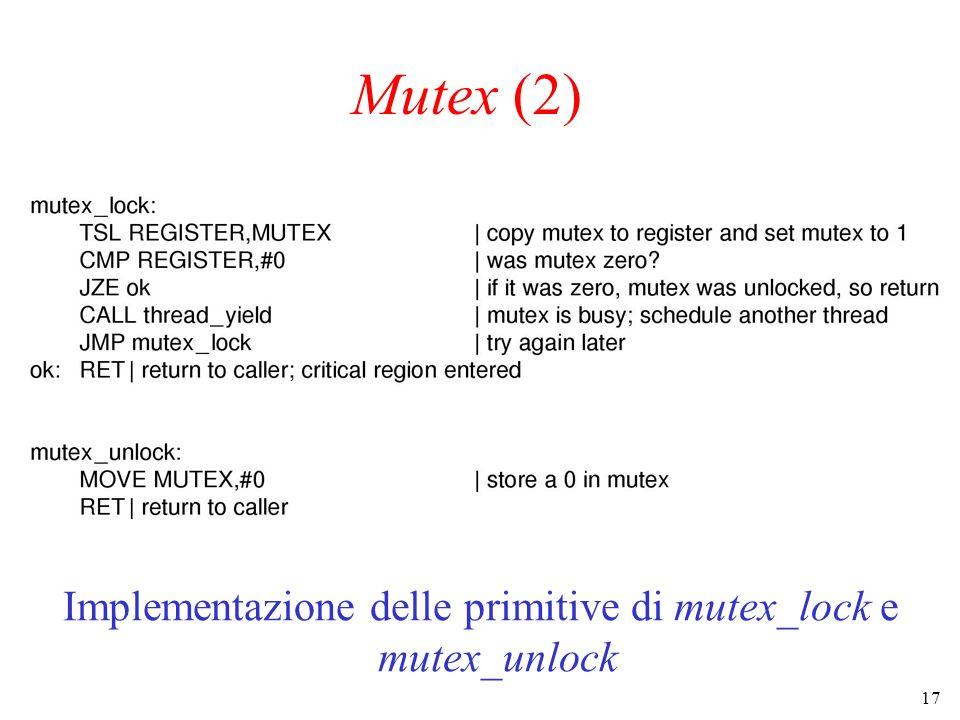 Implementazione delle primitive di mutex_lock e mutex_unlock