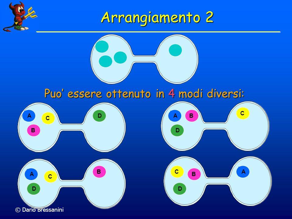Arrangiamento 2 Puo' essere ottenuto in 4 modi diversi: A B C D A B C