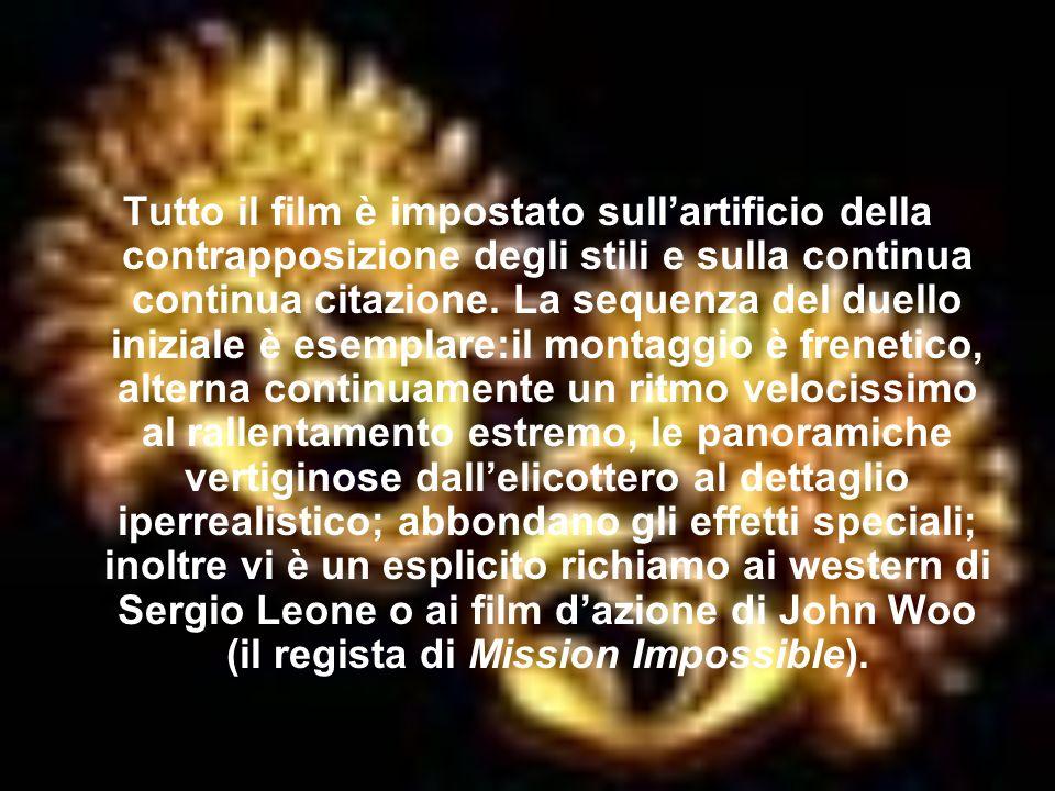 Tutto il film è impostato sull'artificio della contrapposizione degli stili e sulla continua continua citazione.