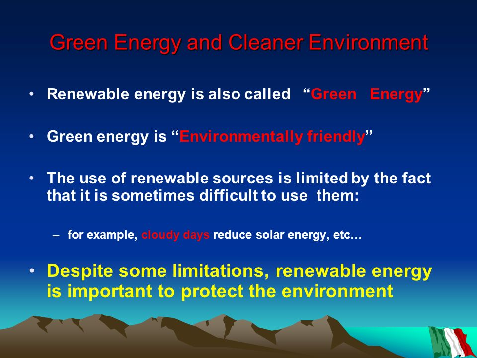 Green Energy and Cleaner Environment