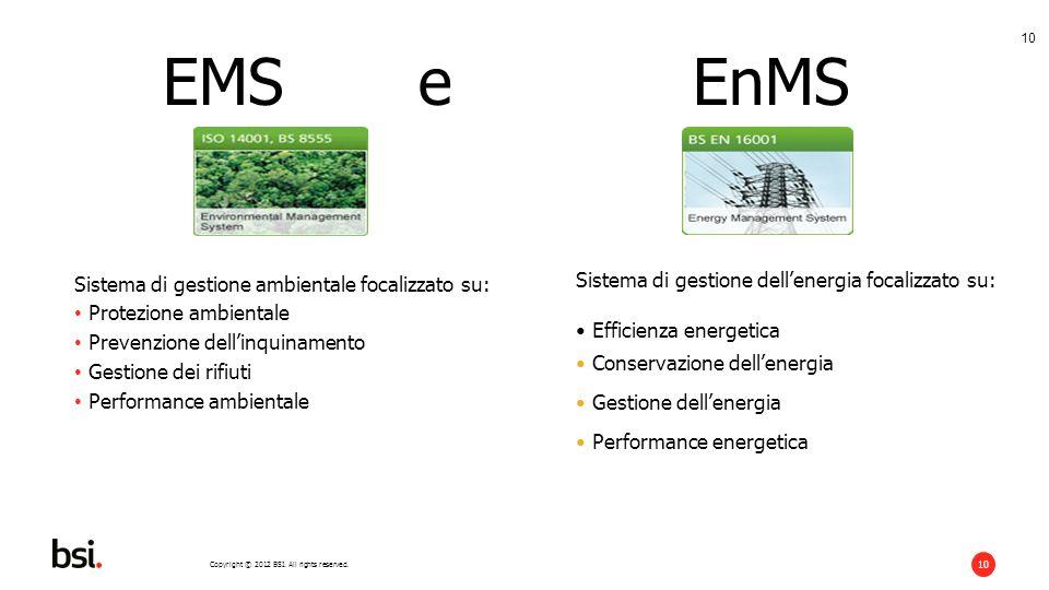 EMS e EnMS Sistema di gestione ambientale focalizzato su: