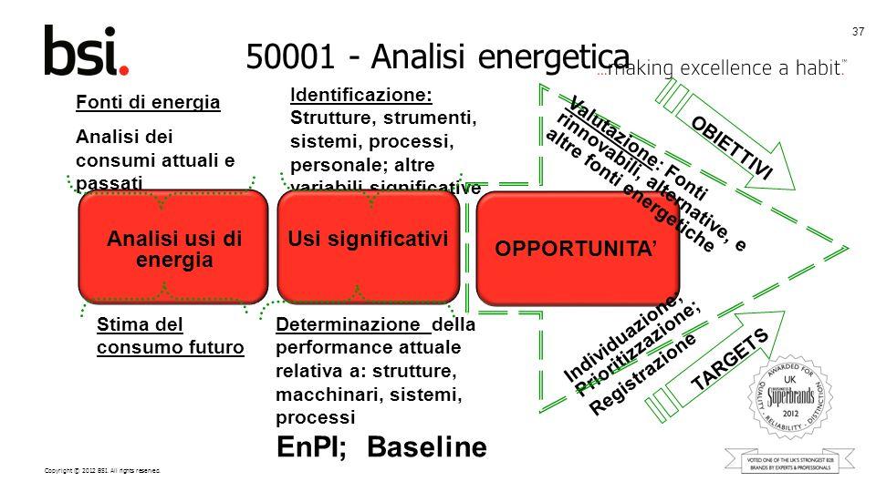 50001 - Analisi energetica EnPI; Baseline Analisi usi di energia