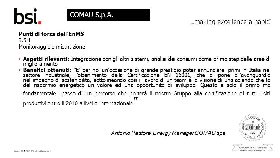 COMAU S.p.A. Punti di forza dell'EnMS 3.5.1 Monitoraggio e misurazione