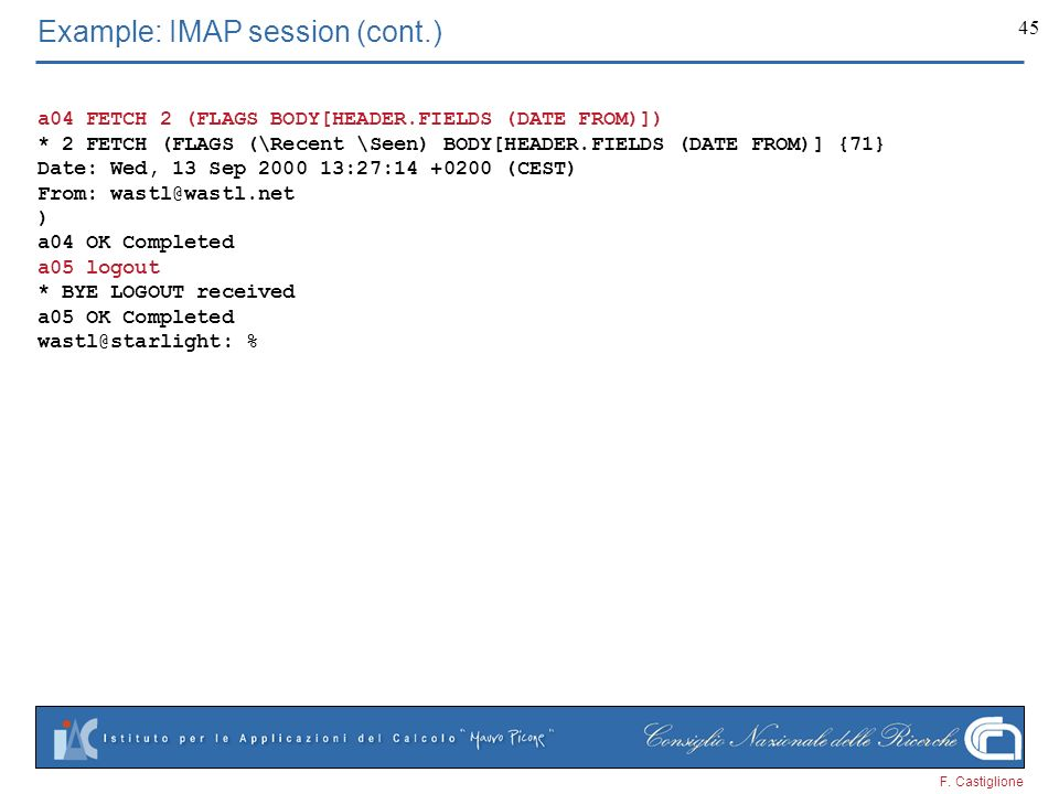 Example: IMAP session (cont.)
