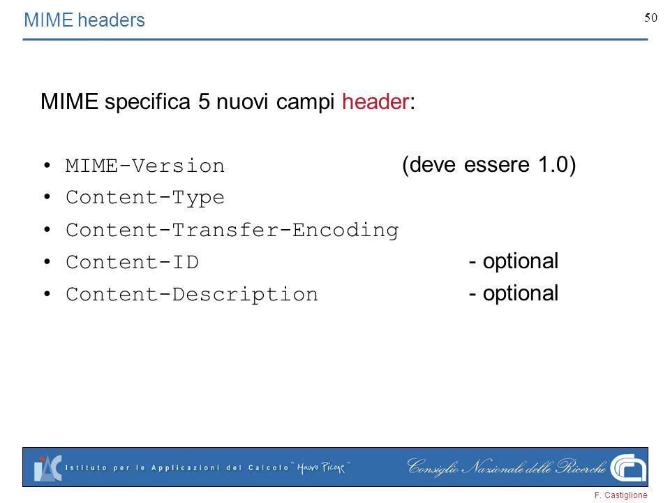 MIME specifica 5 nuovi campi header: MIME-Version (deve essere 1.0)
