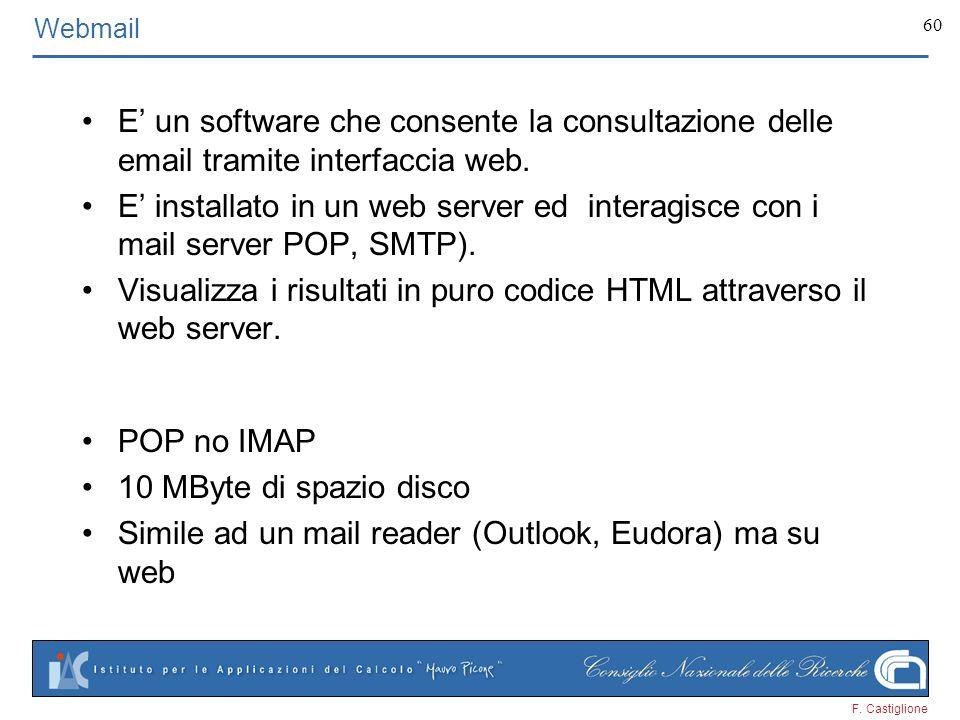 Visualizza i risultati in puro codice HTML attraverso il web server.