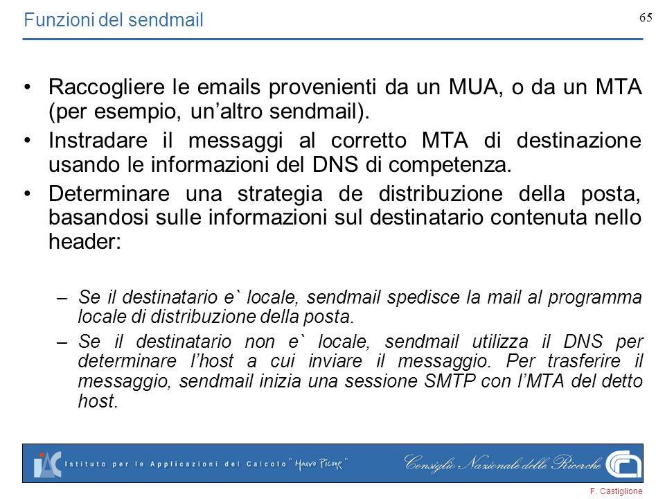 Funzioni del sendmail Raccogliere le emails provenienti da un MUA, o da un MTA (per esempio, un'altro sendmail).