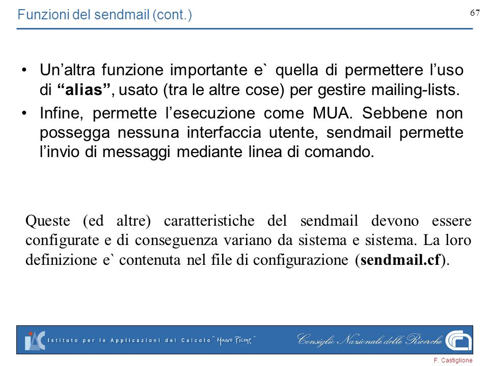 Funzioni del sendmail (cont.)