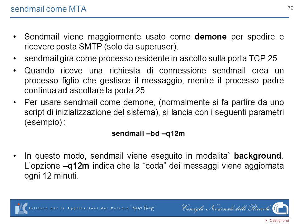 sendmail gira come processo residente in ascolto sulla porta TCP 25.