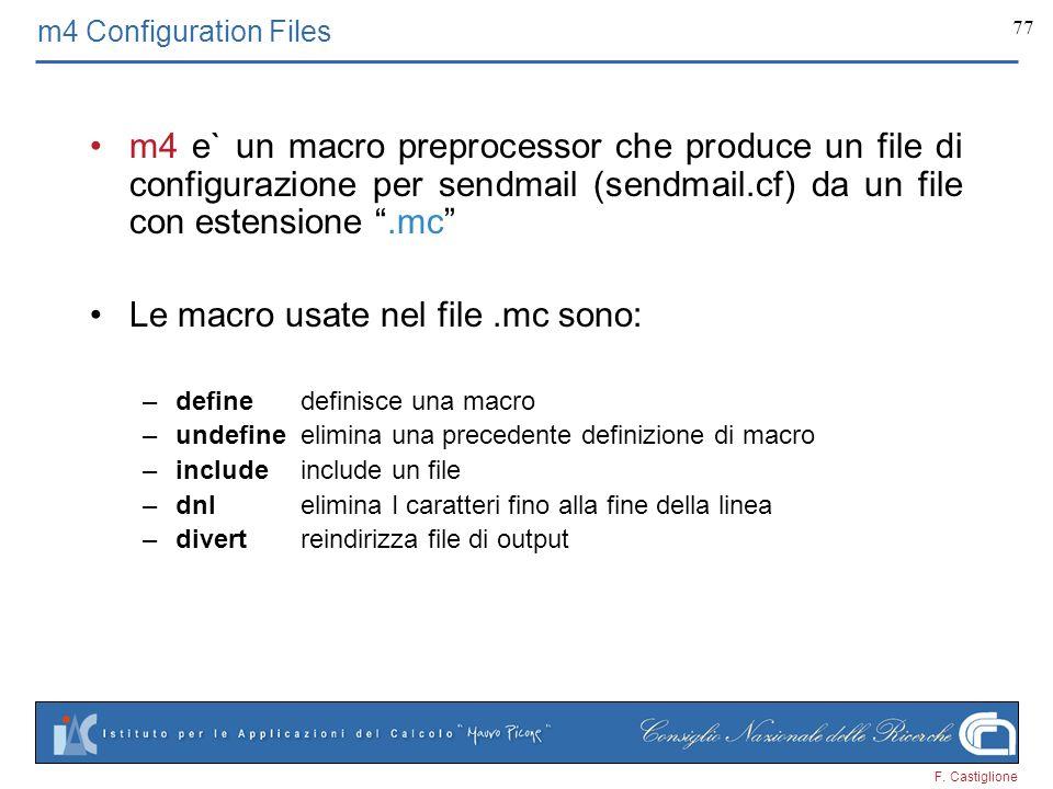 Le macro usate nel file .mc sono: