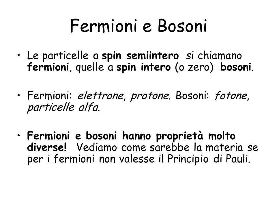 Fermioni e Bosoni Le particelle a spin semiintero si chiamano fermioni, quelle a spin intero (o zero) bosoni.