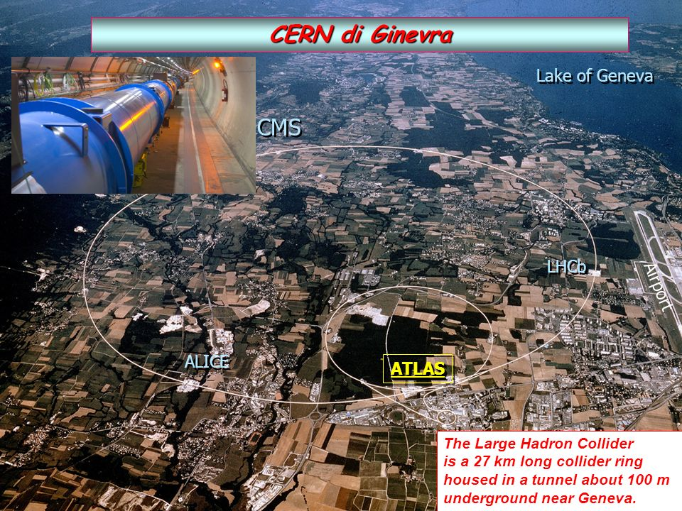 CERN di Ginevra CMS Lake of Geneva LHCb Airport ALICE ATLAS