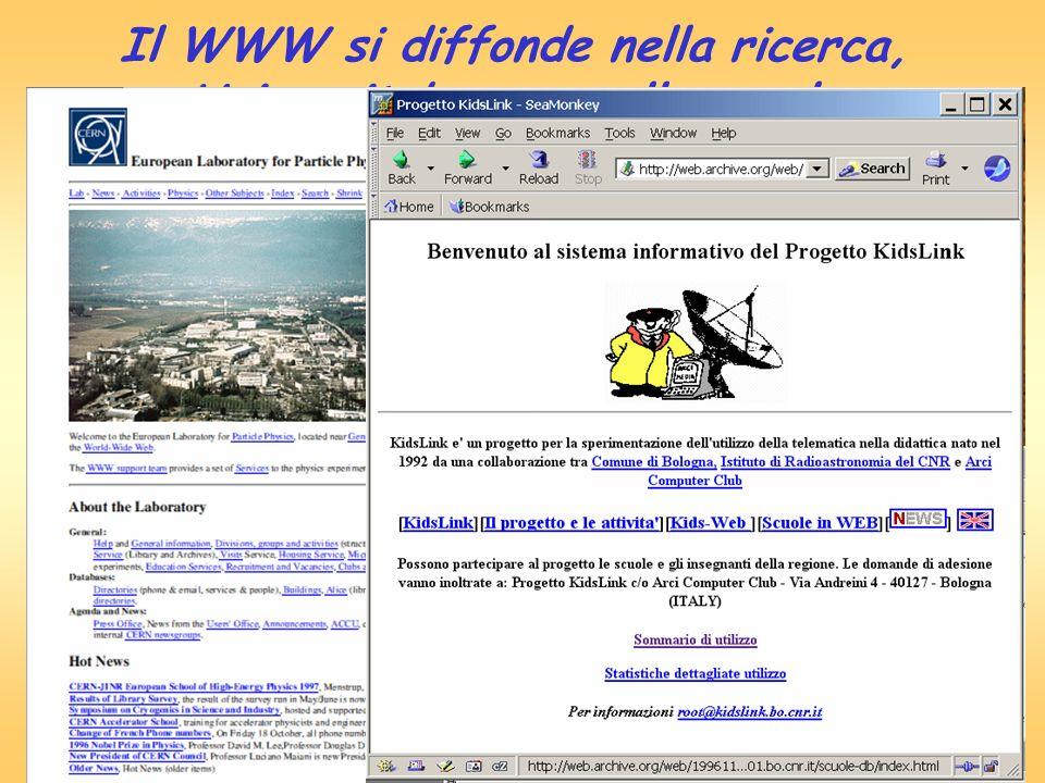 Il WWW si diffonde nella ricerca, Universita' e ………nella scuola