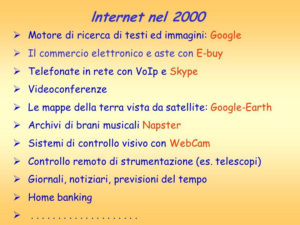 lnternet nel 2000 Motore di ricerca di testi ed immagini: Google