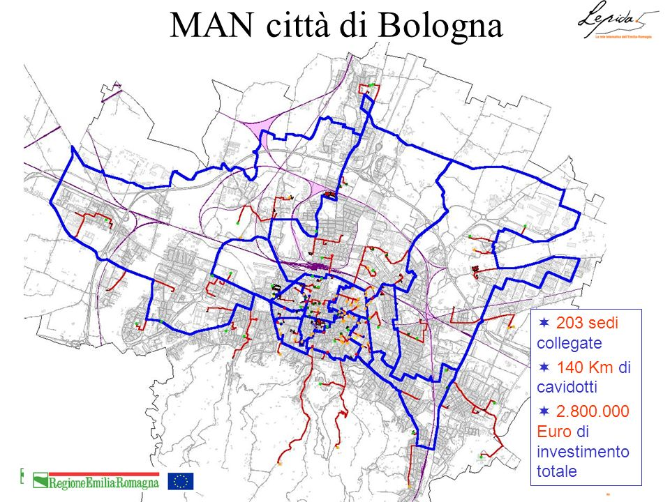 MAN città di Bologna 203 sedi collegate 140 Km di cavidotti
