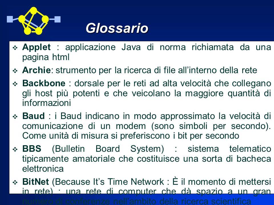 Glossario Applet : applicazione Java di norma richiamata da una pagina html. Archie: strumento per la ricerca di file all'interno della rete.