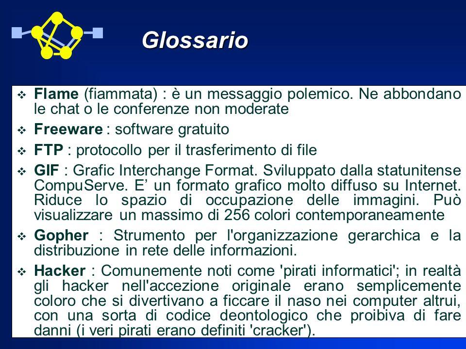 Glossario Flame (fiammata) : è un messaggio polemico. Ne abbondano le chat o le conferenze non moderate.