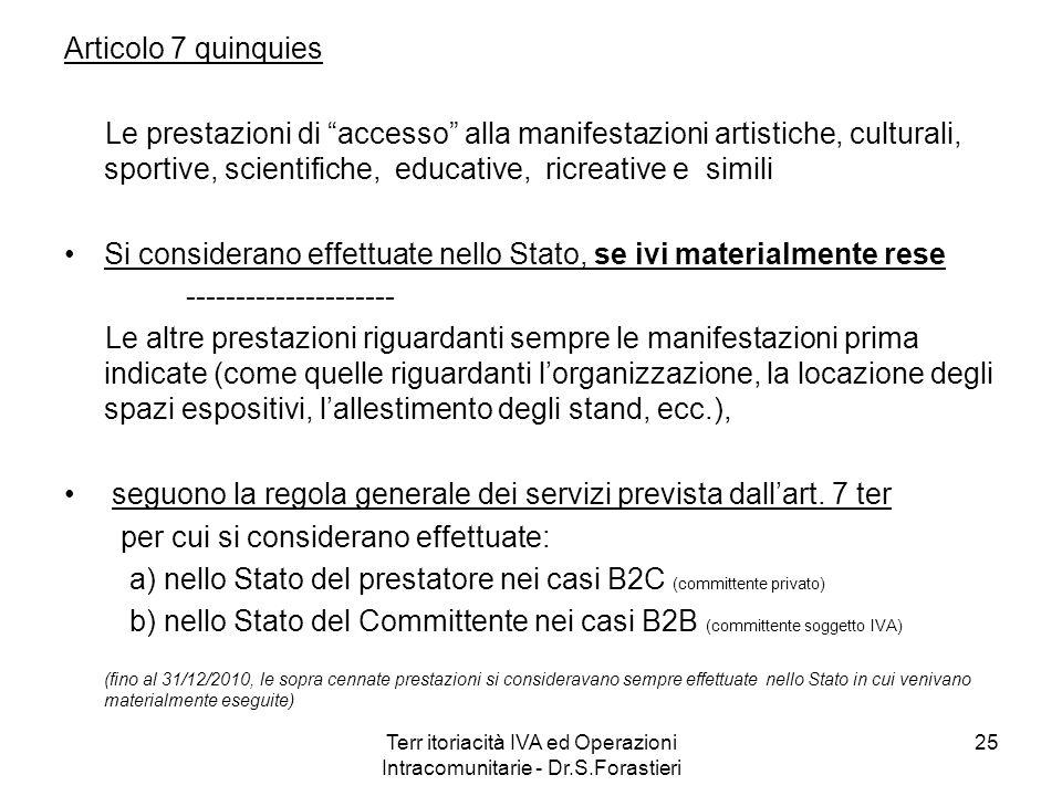 Terr itoriacità IVA ed Operazioni Intracomunitarie - Dr.S.Forastieri