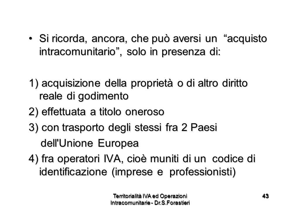Territorialità IVA ed Operazioni Intracomunitarie - Dr.S.Forastieri