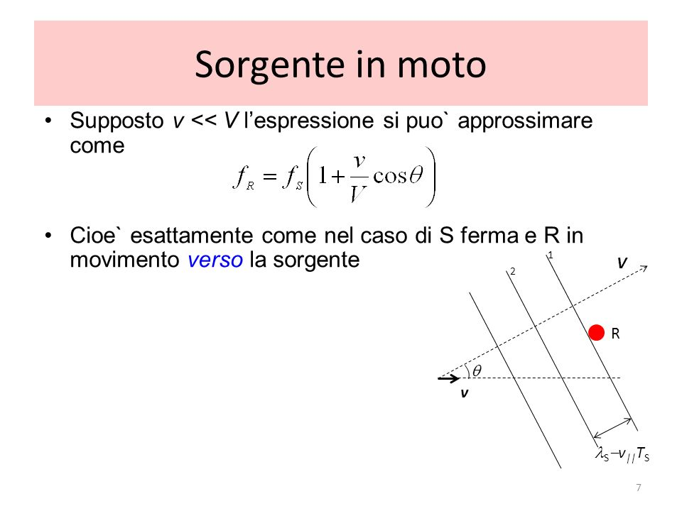 Sorgente in moto Supposto v << V l'espressione si puo` approssimare come.