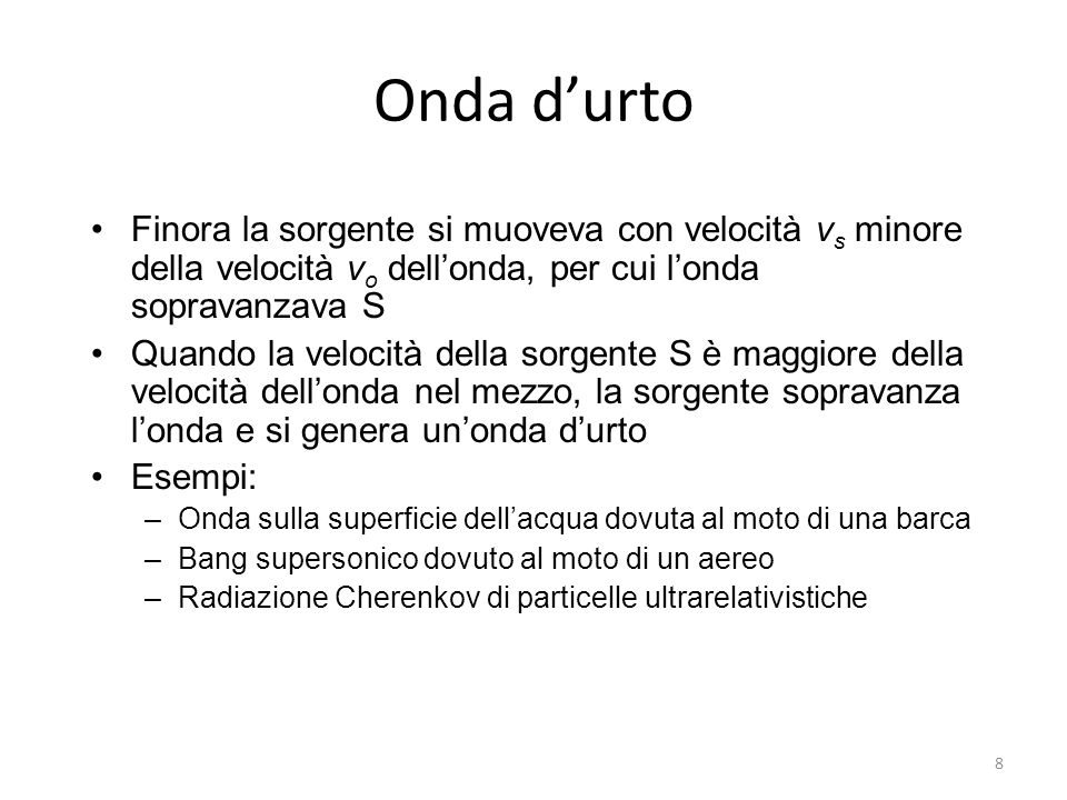Onda d'urtoFinora la sorgente si muoveva con velocità vs minore della velocità vo dell'onda, per cui l'onda sopravanzava S.