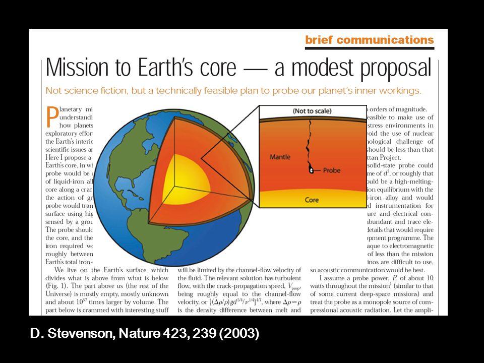 D. Stevenson, Nature 423, 239 (2003)