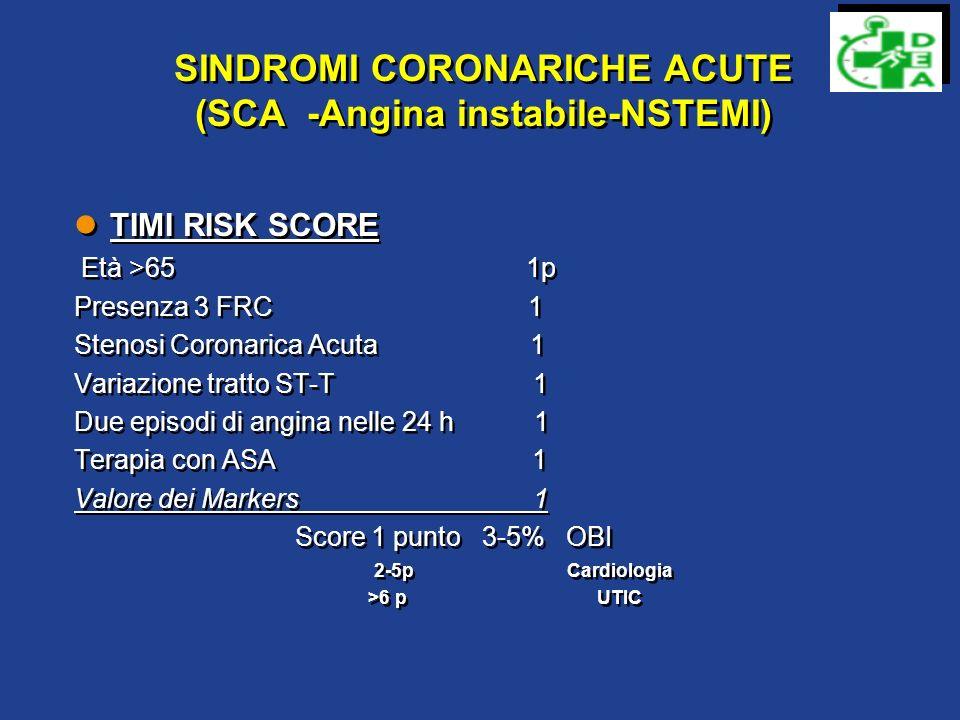 SINDROMI CORONARICHE ACUTE (SCA -Angina instabile-NSTEMI)