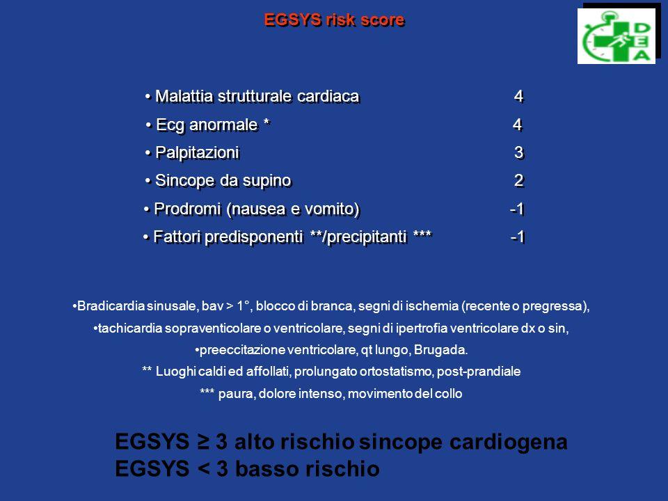 EGSYS ≥ 3 alto rischio sincope cardiogena EGSYS < 3 basso rischio
