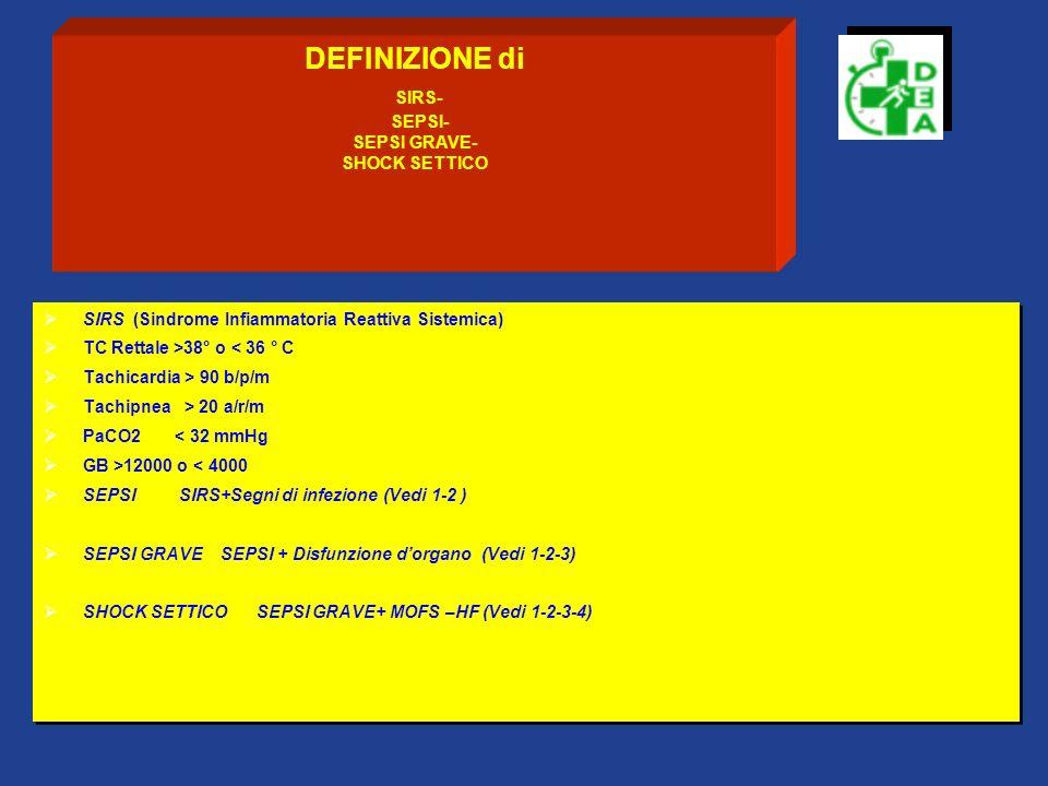DEFINIZIONE di SIRS- SEPSI- SEPSI GRAVE- SHOCK SETTICO