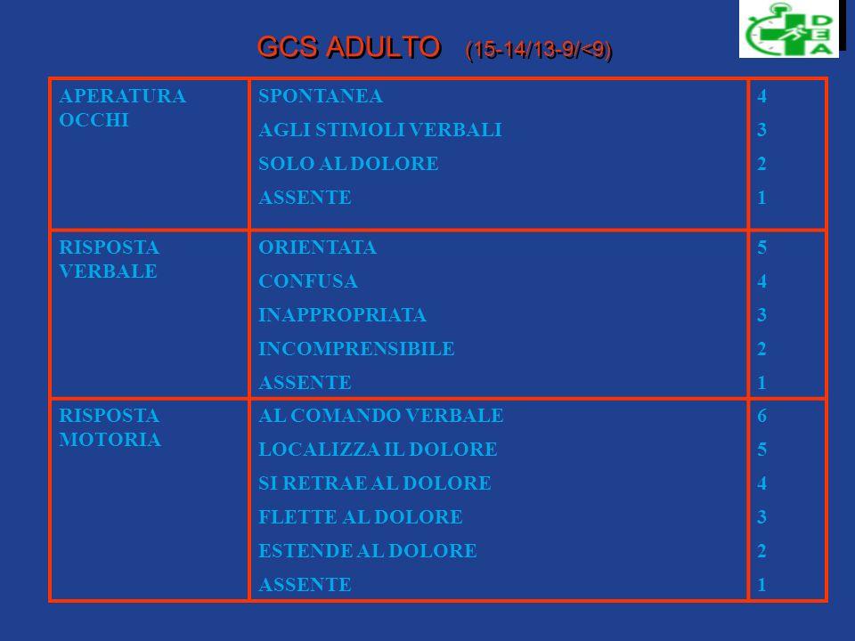 GCS ADULTO (15-14/13-9/<9) APERATURA OCCHI SPONTANEA