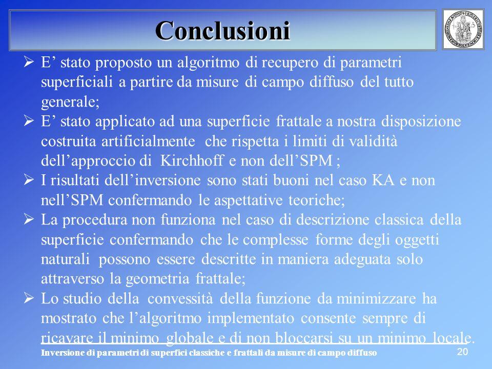 Conclusioni E' stato proposto un algoritmo di recupero di parametri superficiali a partire da misure di campo diffuso del tutto generale;