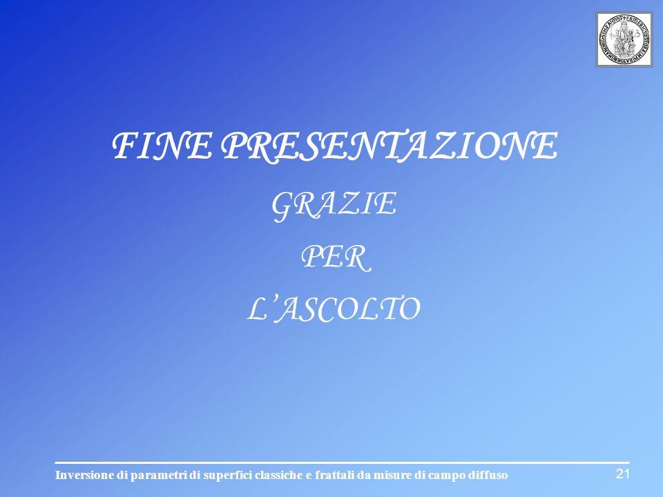 FINE PRESENTAZIONE GRAZIE PER L'ASCOLTO 21