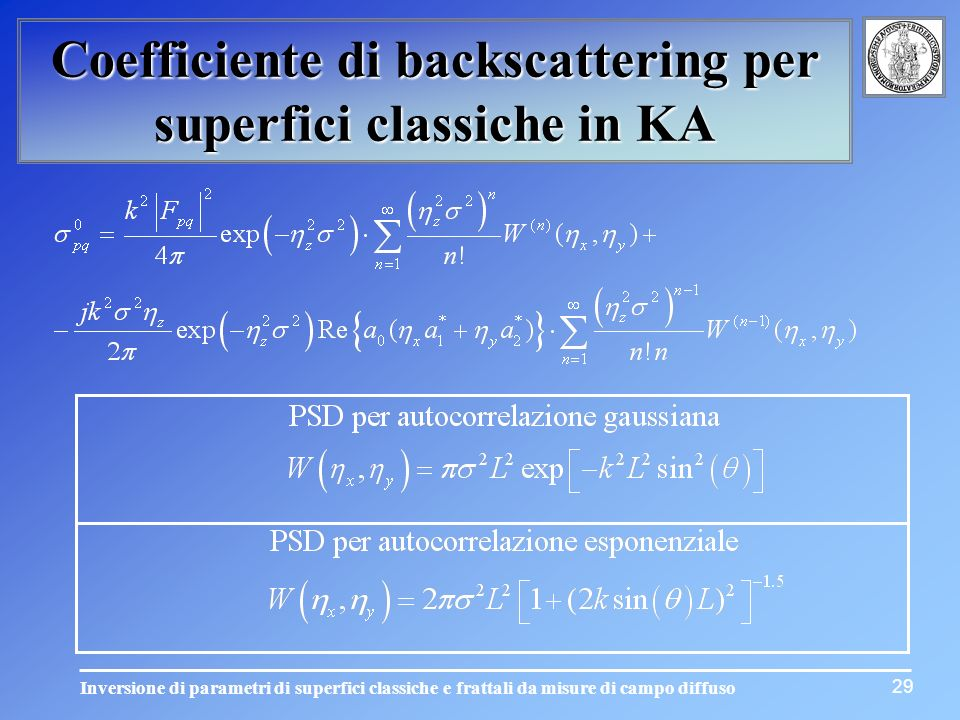Coefficiente di backscattering per superfici classiche in KA
