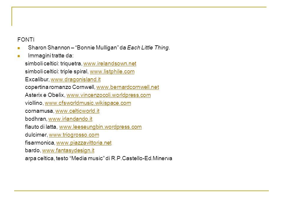 FONTISharon Shannon – Bonnie Mulligan da Each Little Thing. Immagini tratte da: simboli celtici: triquetra, www.irelandsown.net.