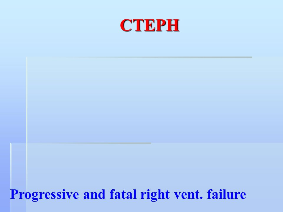 CTEPH Progressive and fatal right vent. failure