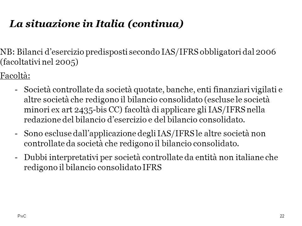 La situazione in Italia (continua)