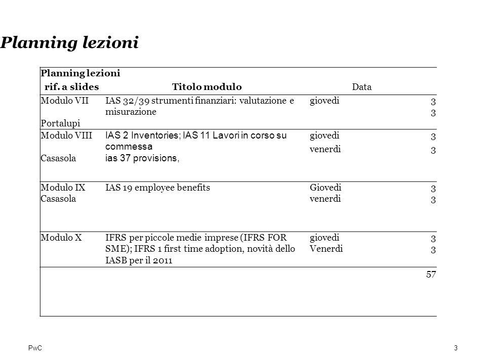 Planning lezioni Planning lezioni rif. a slides Titolo modulo Data