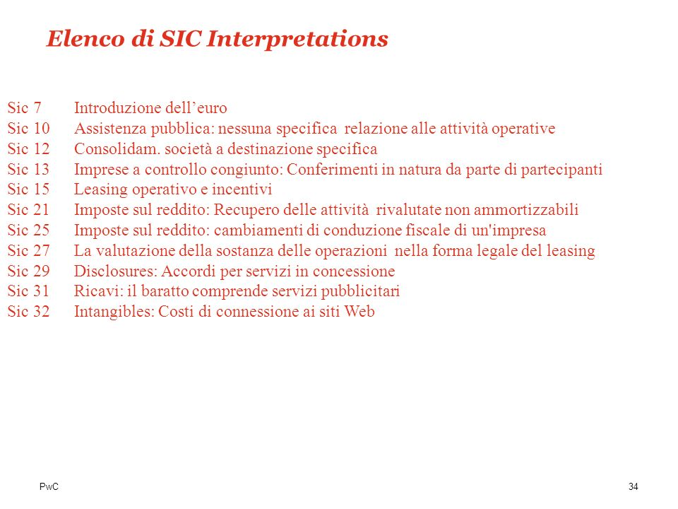 Elenco di SIC Interpretations