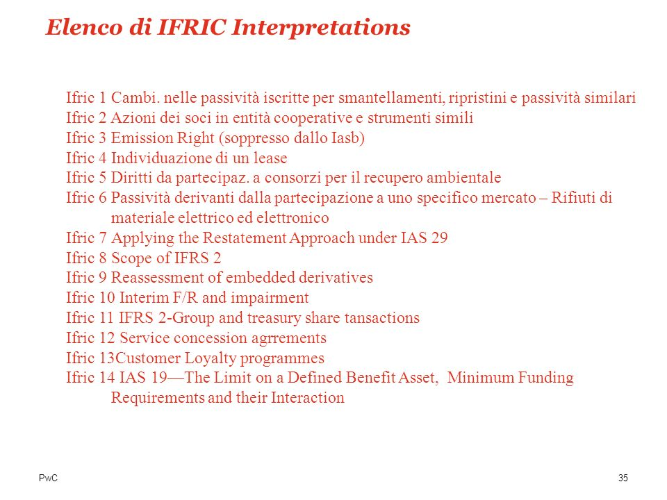 Elenco di IFRIC Interpretations