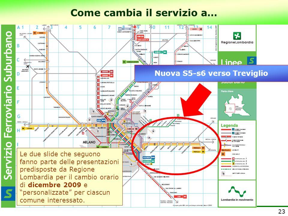 Come cambia il servizio a… Nuova S5-s6 verso Treviglio