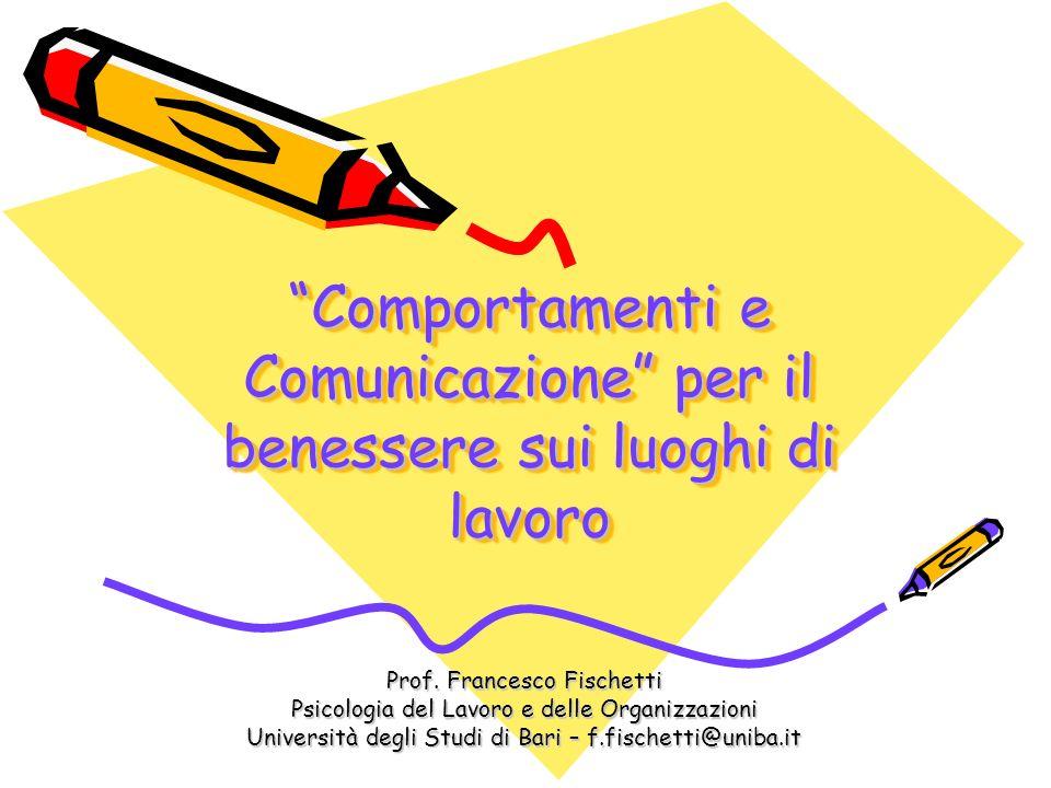 Comportamenti e Comunicazione per il benessere sui luoghi di lavoro