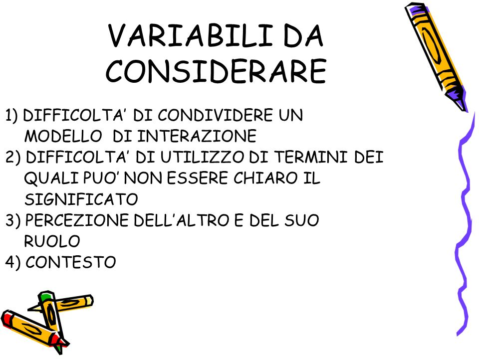 VARIABILI DA CONSIDERARE