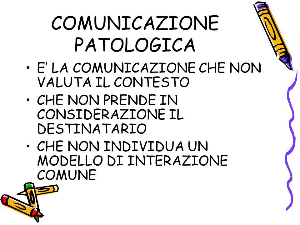 COMUNICAZIONE PATOLOGICA