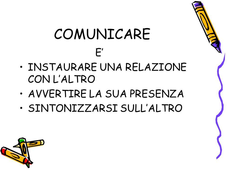 COMUNICARE E' INSTAURARE UNA RELAZIONE CON L'ALTRO