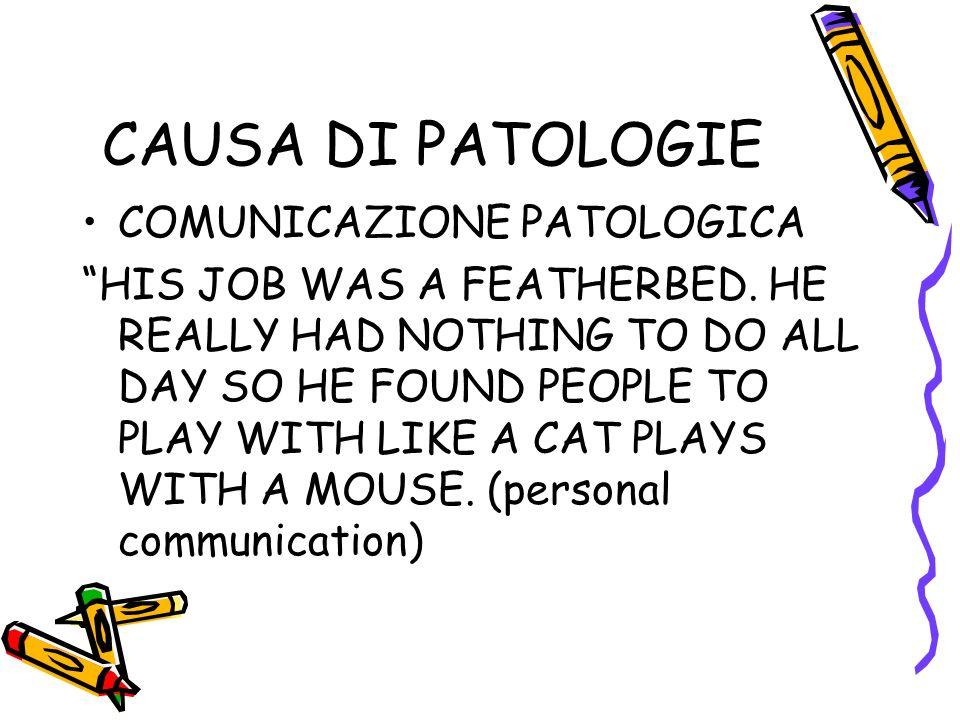 CAUSA DI PATOLOGIE COMUNICAZIONE PATOLOGICA